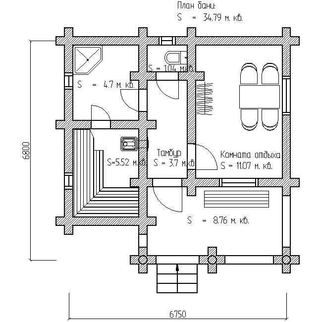 проект №13 баня из оцилиндрованного бревна план