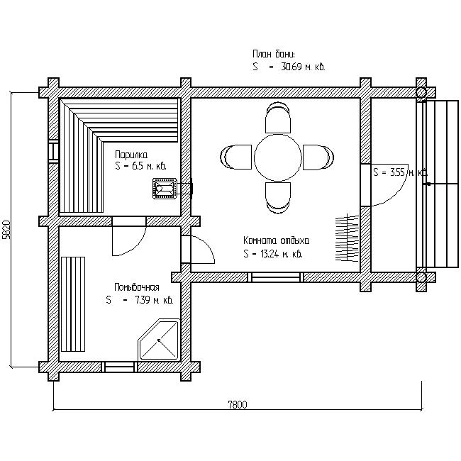 проект одноэтажной бани план