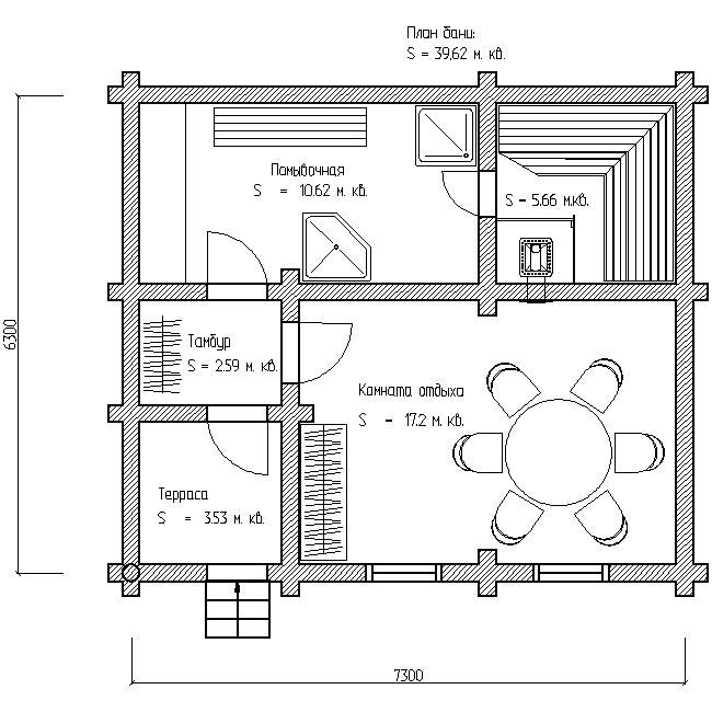 план бани 6х7 по проекту №16