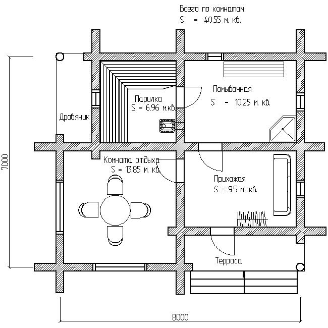 план бани по проекту №17