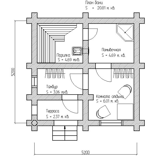 проект бани 6х6 план