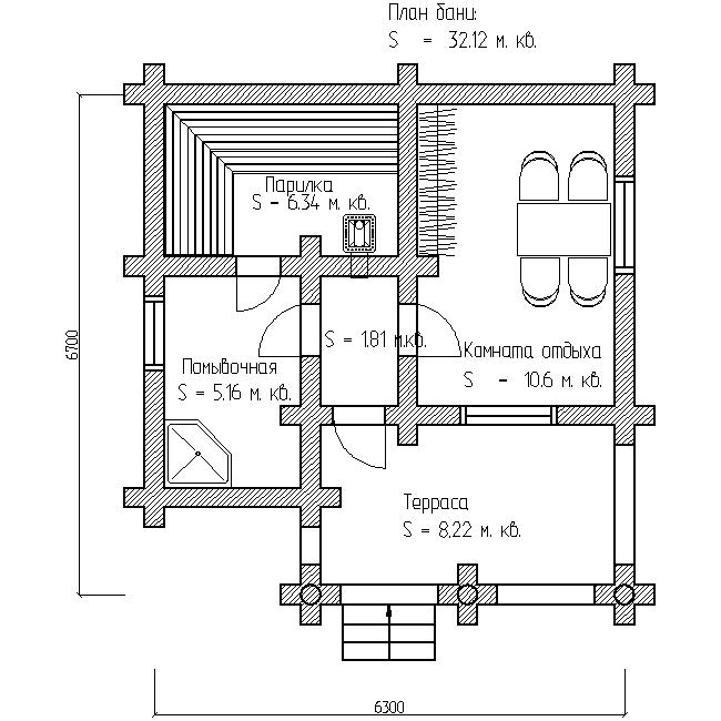 проект №4 баня 6х6 с террасой план