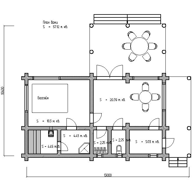 баня из бревен с террасой план первого этажа