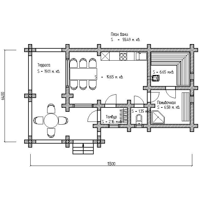 проект бани с террасой план первого этажа