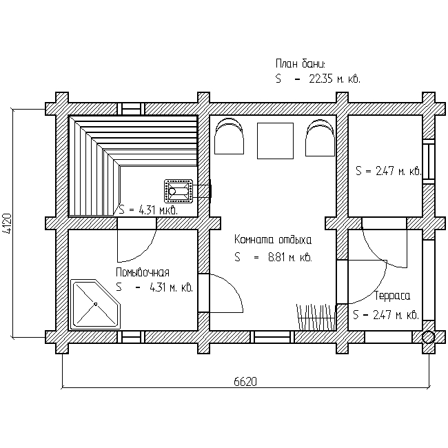 проект бани 6х4 план