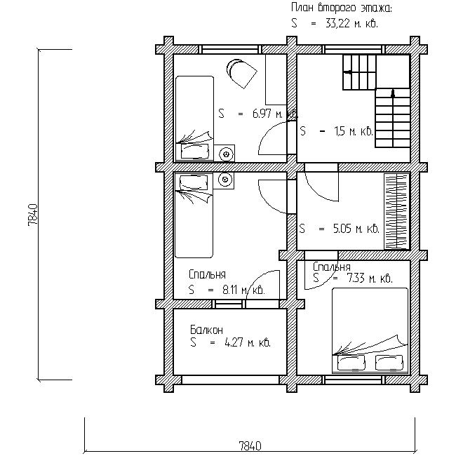план второго этажа деревянного дома по проекту №12