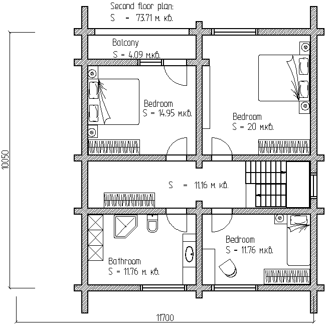 plan of the second floor of a wooden house according to project No. 11