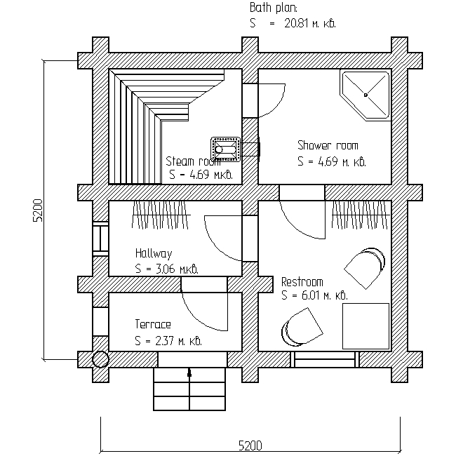 plan for bath project 6x6
