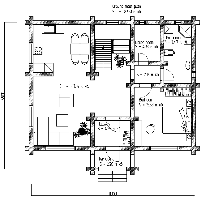 plan of the first floor of a wooden house according to project No. 6