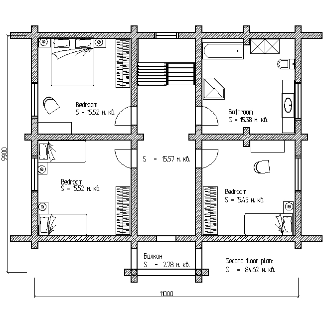 plan of the second floor of a wooden house according to project No. 6