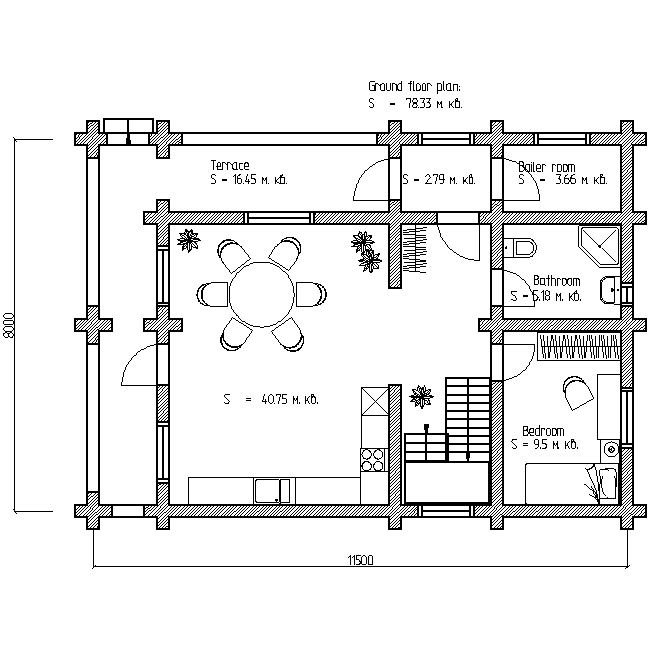 plan of the first floor of a wooden house according to project No. 7