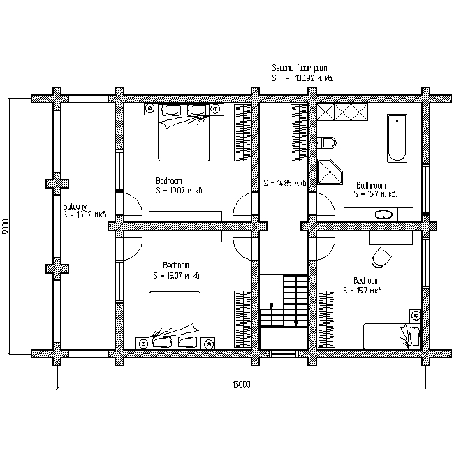 plan of the second floor of a wooden house according to project No. 9