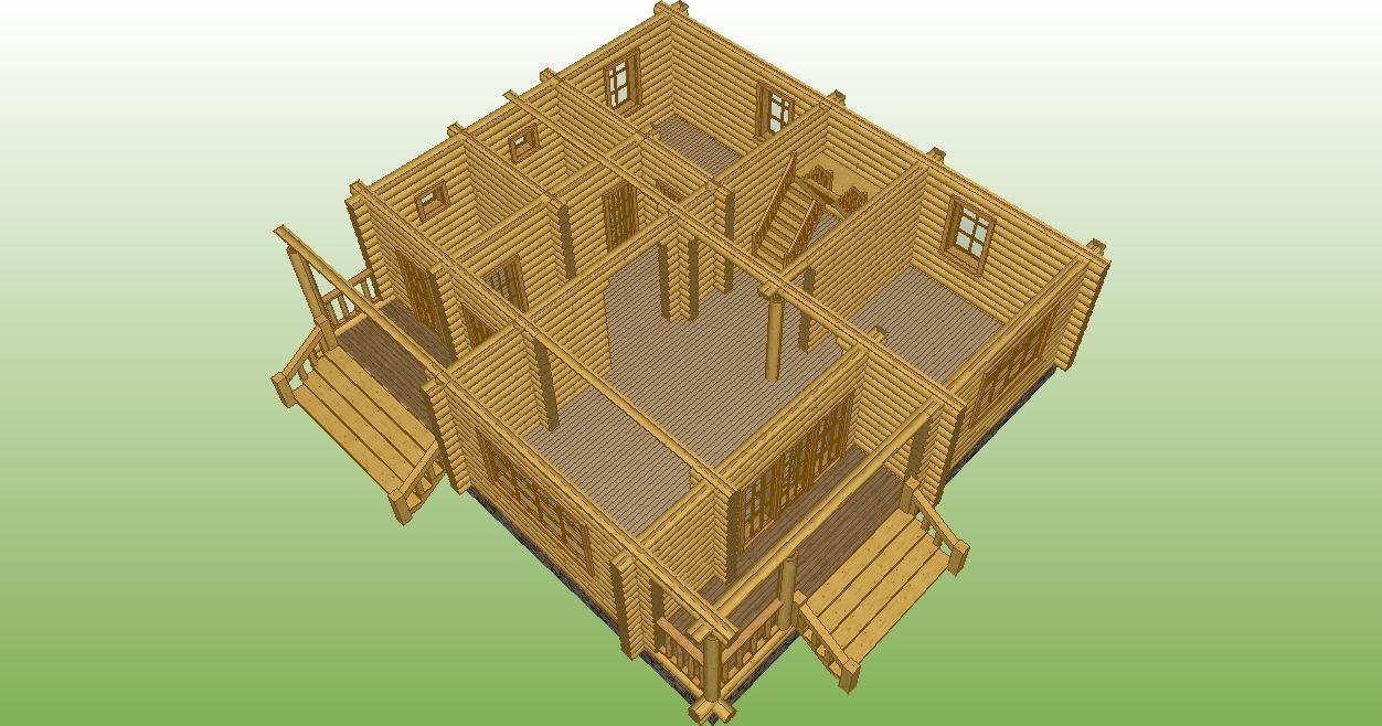 разрез первого этажа деревянного дома по проекту №15