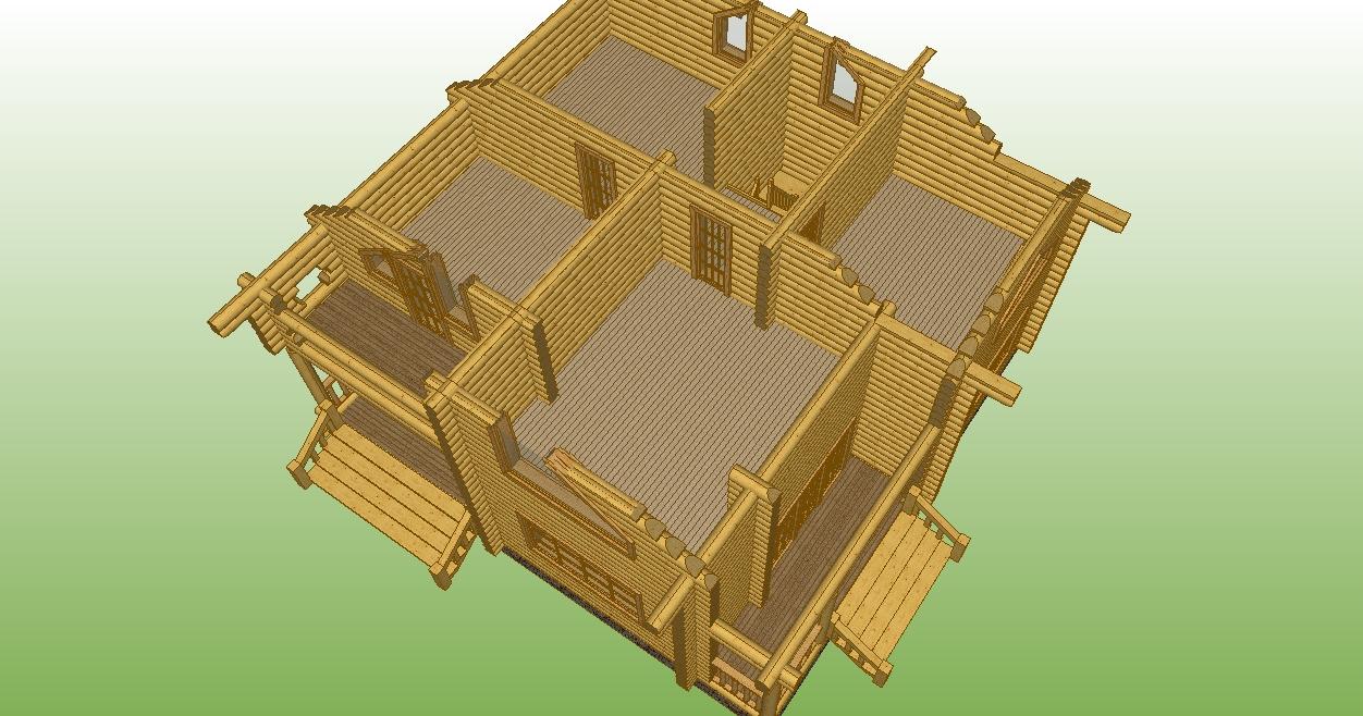 разрез второго этажа деревянного дома по проекту №15