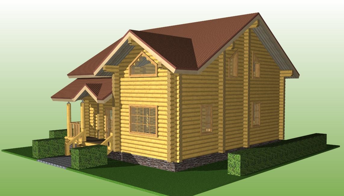 деревянный коттедж по проекту №15 из оцилиндрованного бревна