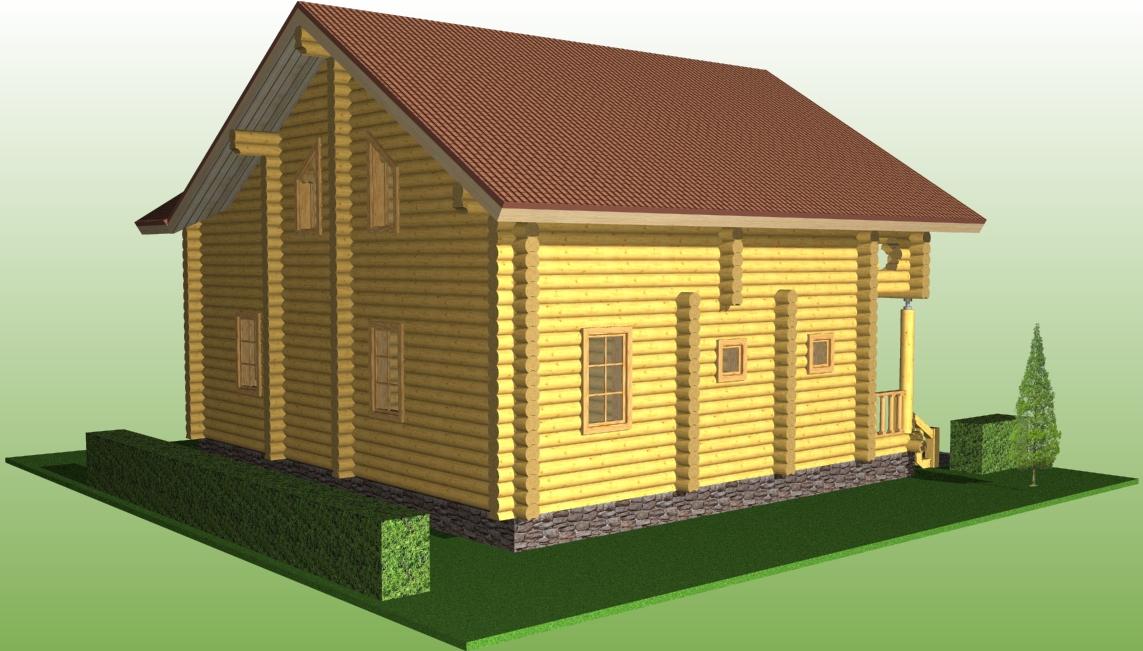 деревянный дом из бревна диаметром 260 мм по проекту №15