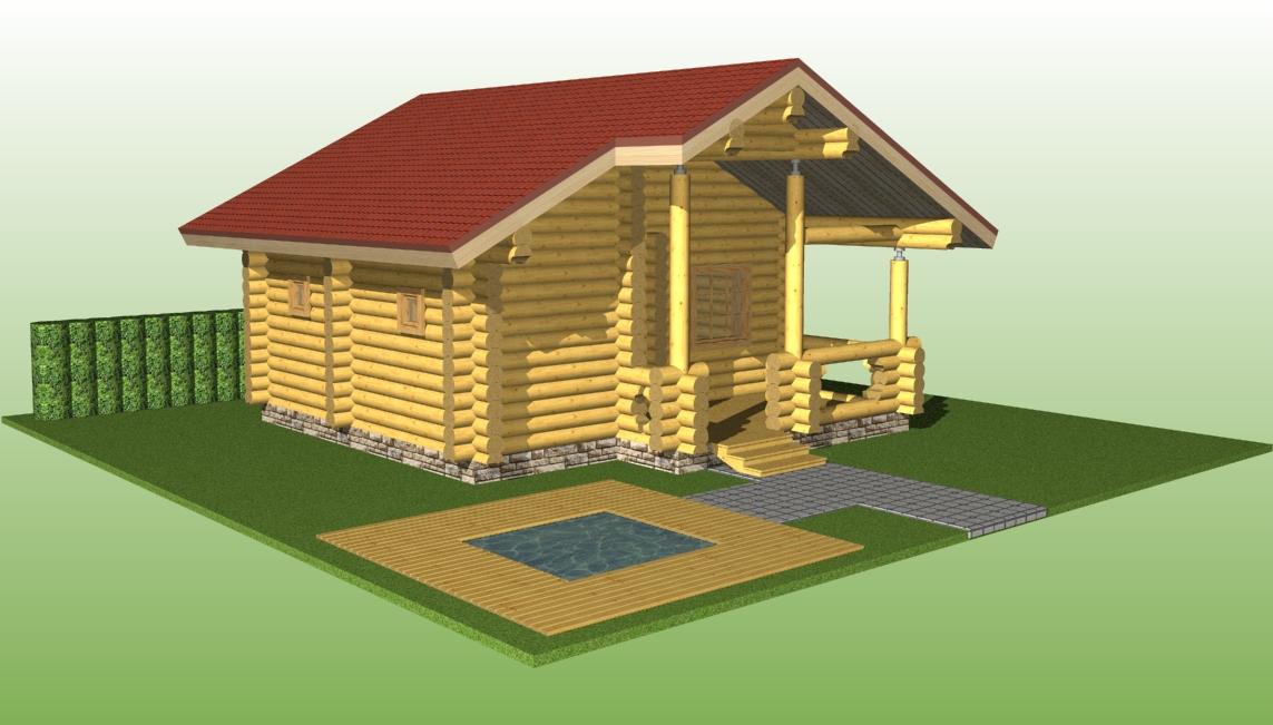 проект №13 баня из оцилиндрованного бревна