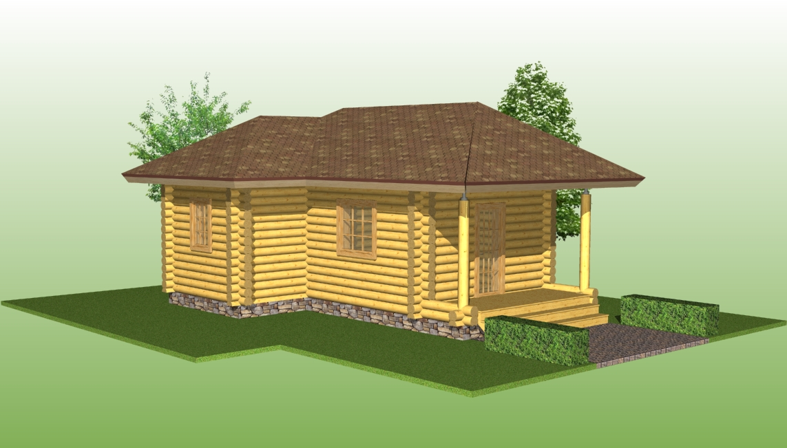 bathhouse according to the project No. 15 from logs with a diameter of 220 mm