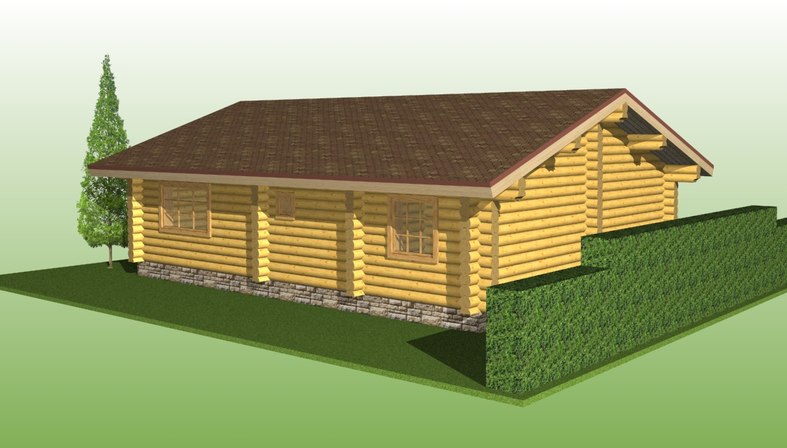 wooden log house with a diameter of 260 mm according to project No. 1
