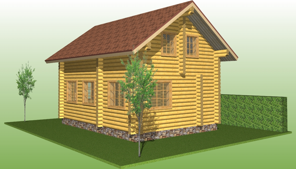 wooden log house with a diameter of 240 mm according to project No. 10