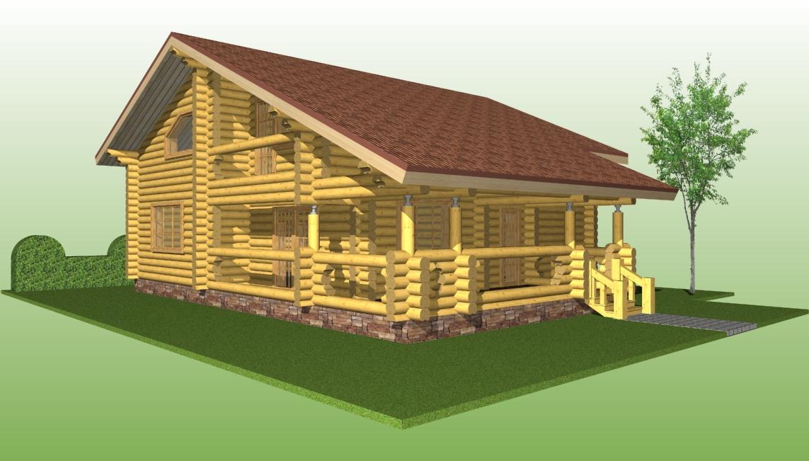 проект №11 дома с террасой вид со стороны террасы