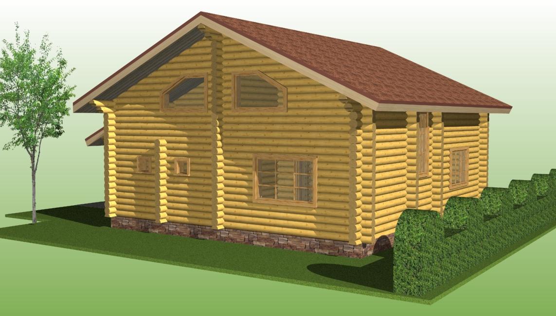 деревянный дом по проекту №11 из оцилиндрованного бревна