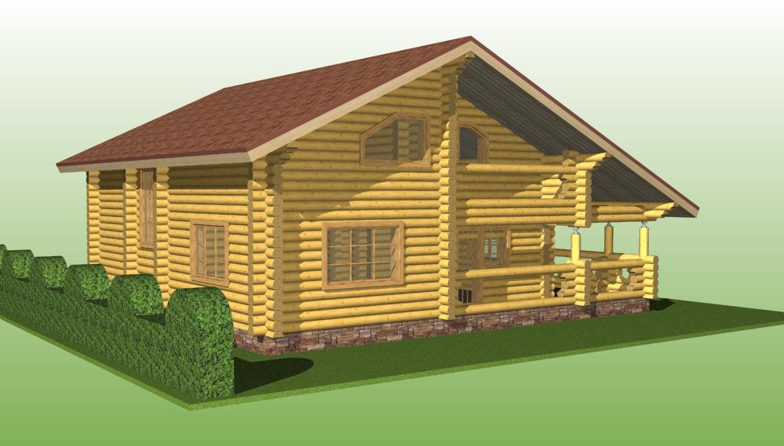деревянный дом из бревна диаметром 240 мм по проекту №11