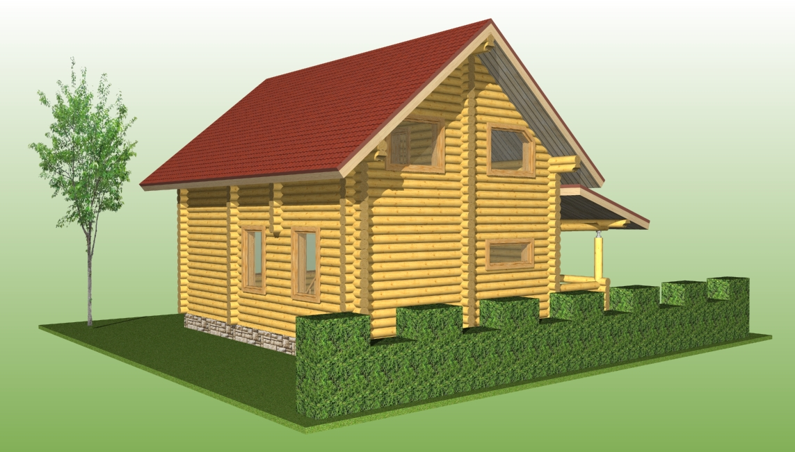 wooden log house with a diameter of 220 mm according to project No. 12