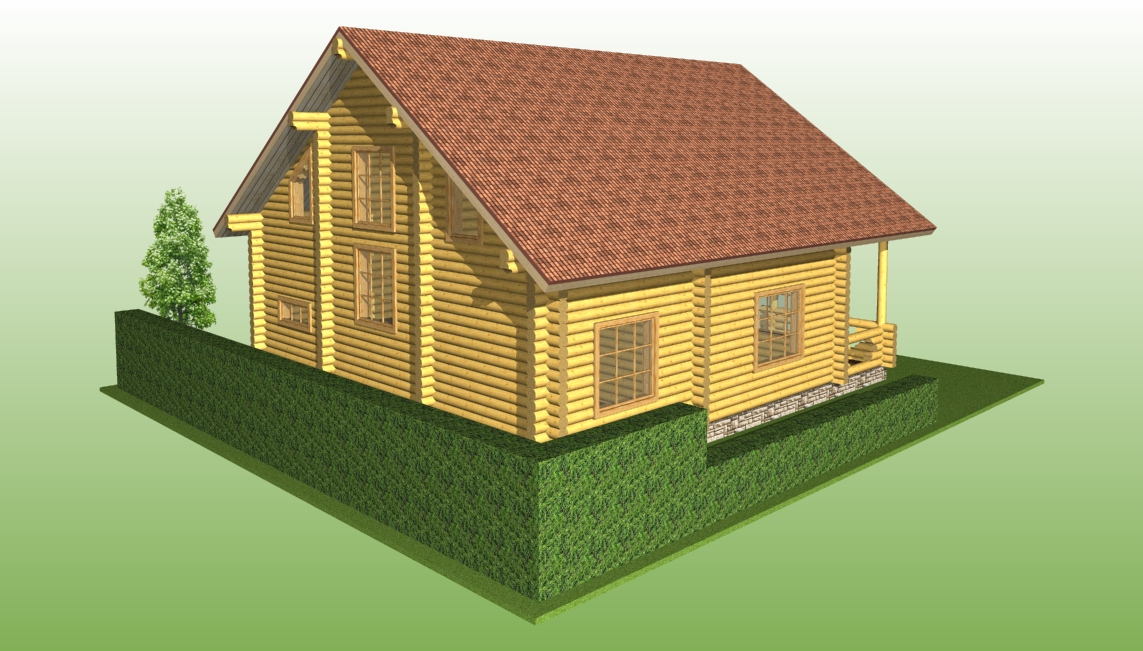 wooden log house with a diameter of 240 mm according to project No. 13