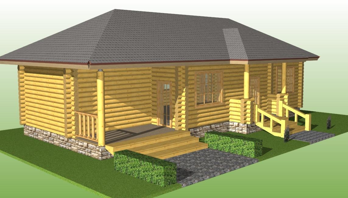 проект одноэтажного деревянного дома с террасой площадью 73 м/кв