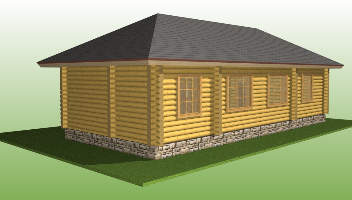wooden house according to project No. 14 made of logs