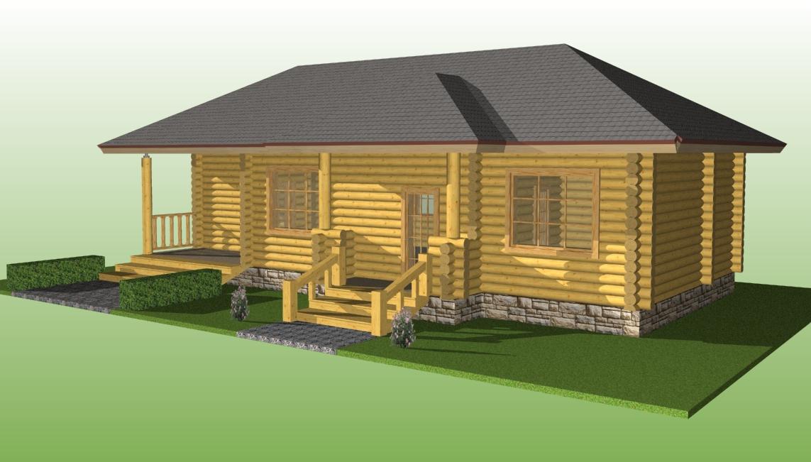 деревянный дом из бревна диаметром 260 мм по проекту №14