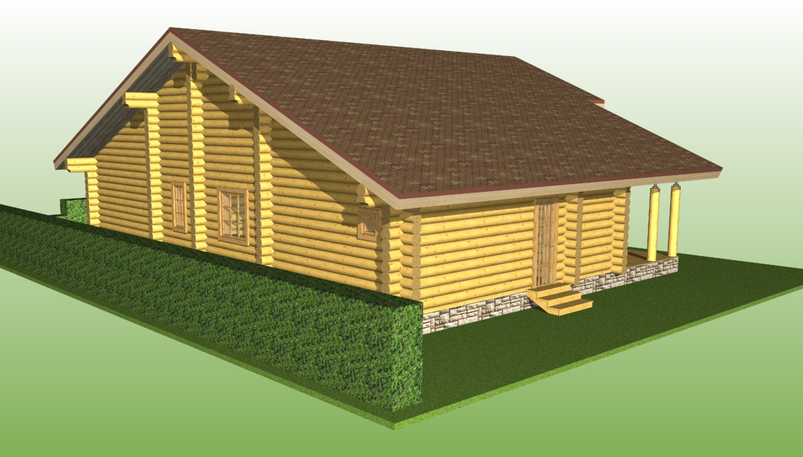 wooden house from a log with a diameter of 240 mm on the project No. 2