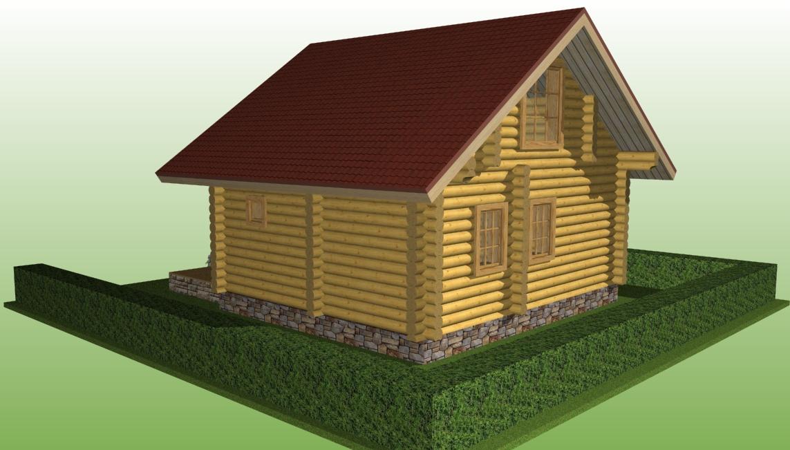 деревянный дом по проекту №3 из оцилиндрованного бревна