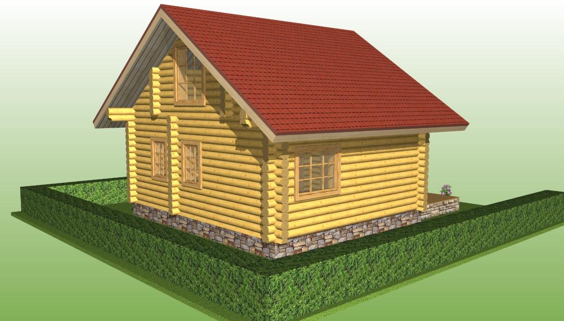 деревянный дом из бревна диаметром 220 мм по проекту №3