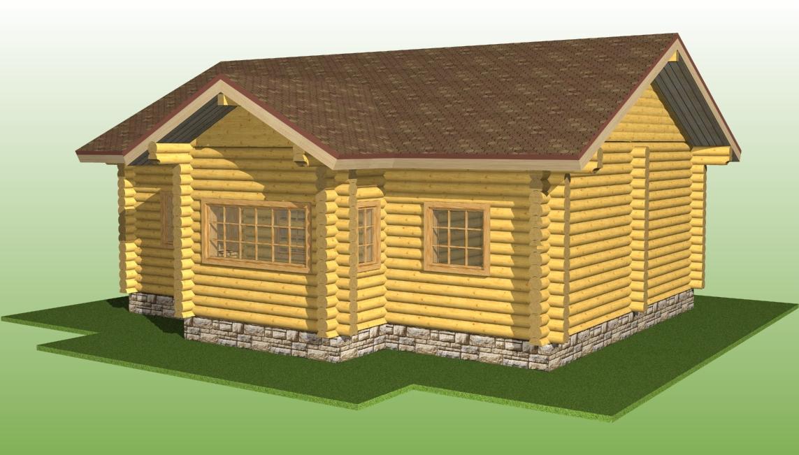 изображение деревянного дома по проекту №5 из оцилиндрованного бревна