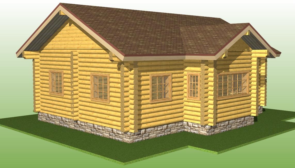 деревянный дом по проекту №5 из оцилиндрованного бревна