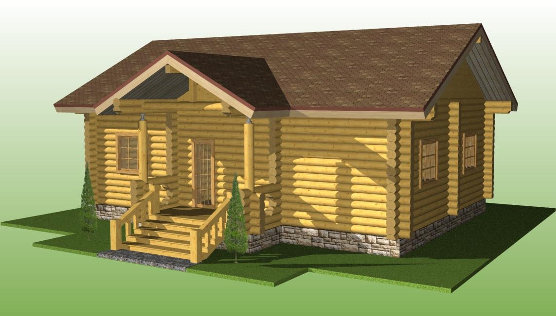 деревянный дом из бревна диаметром 220 мм по проекту №5