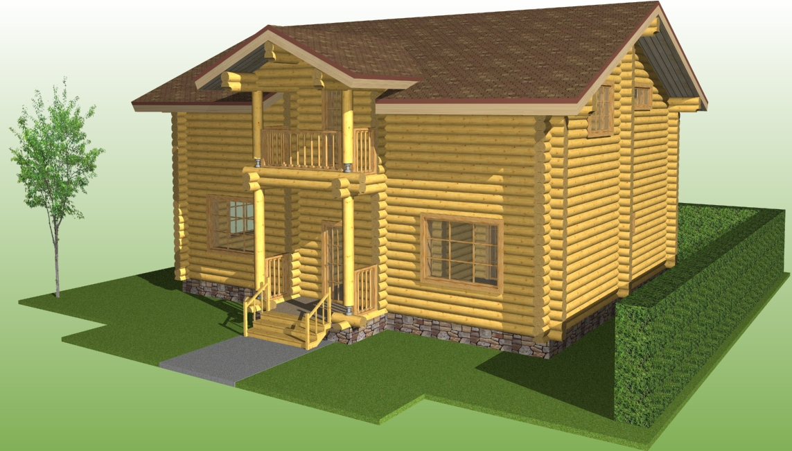 image of a wooden house according to project No. 6