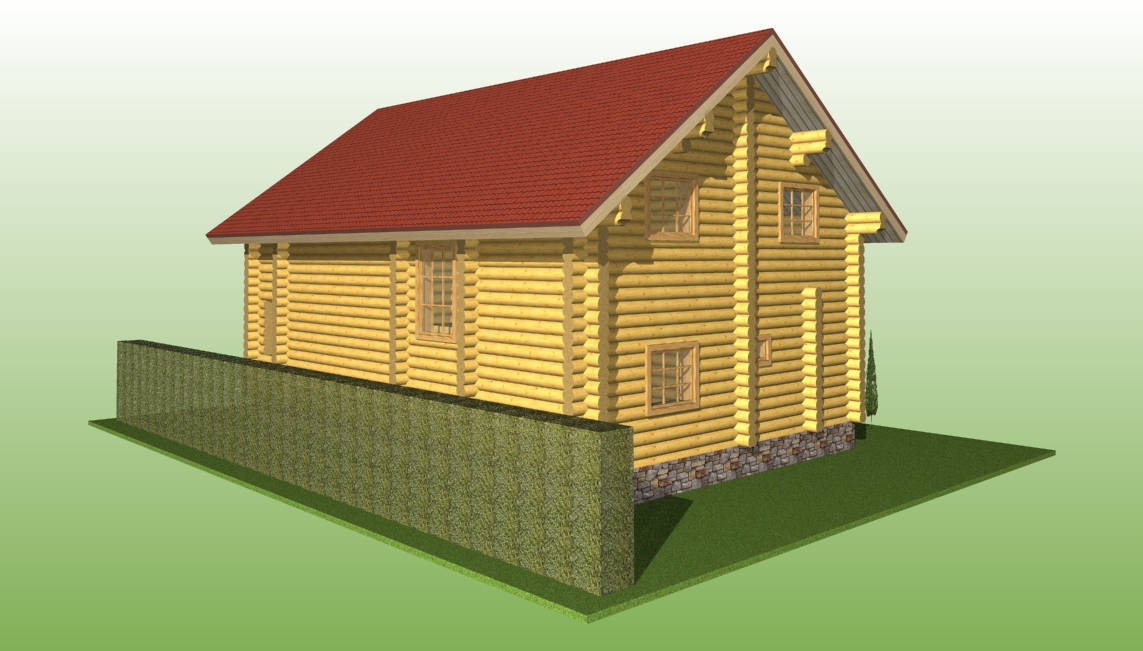 wooden house according to project No. 7 made of logs