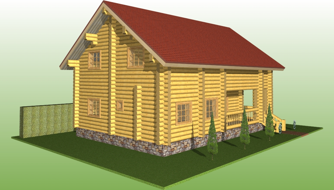 wooden log house with a diameter of 260 mm according to project No. 7