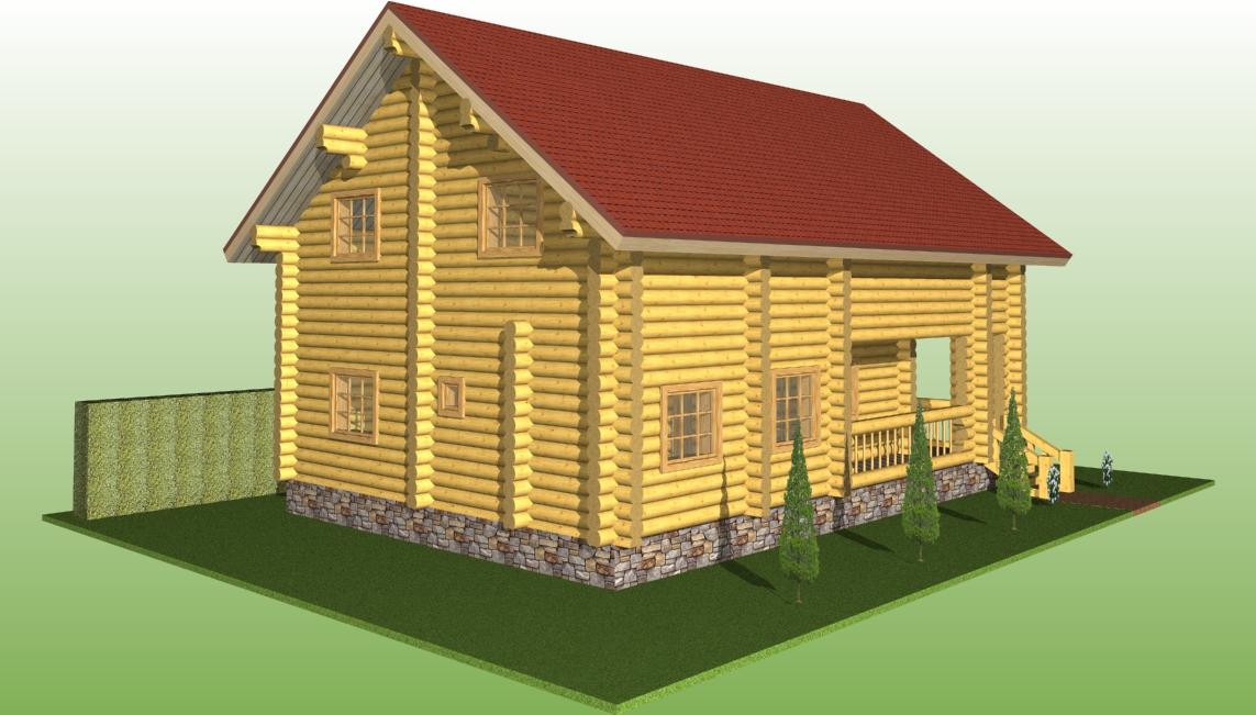деревянный дом из бревна диаметром 260 мм по проекту №7