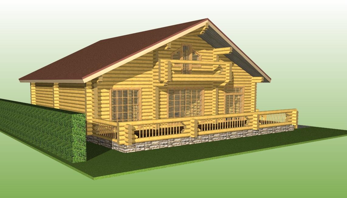 дом с большой террасой проект №8 вид со стороны террасы