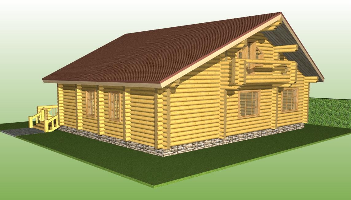 деревянный дом по проекту №8 из оцилиндрованного бревна