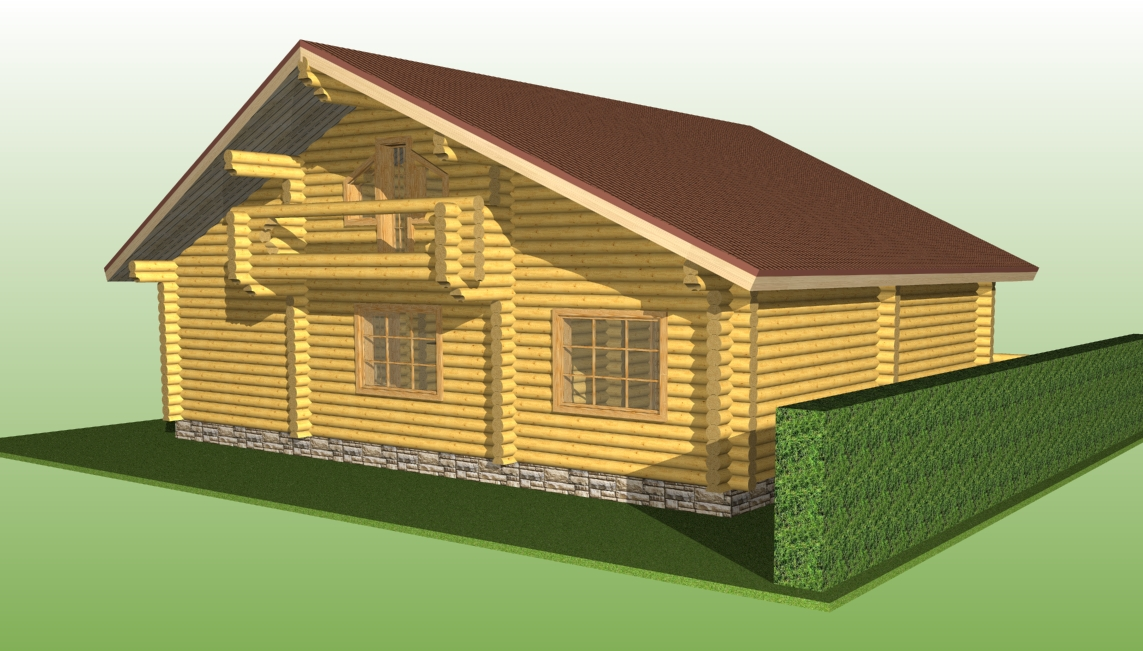 wooden log house with a diameter of 260 mm according to project No. 8