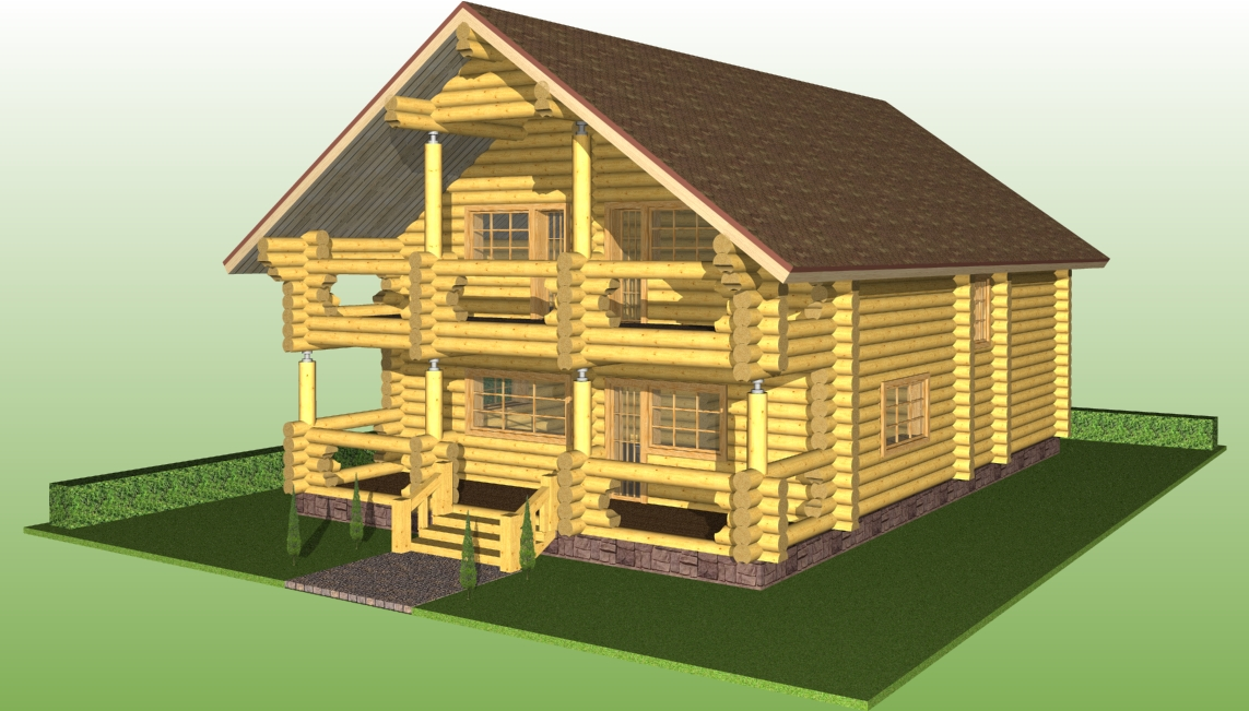 wooden log house with a diameter of 280 mm according to project No. 9