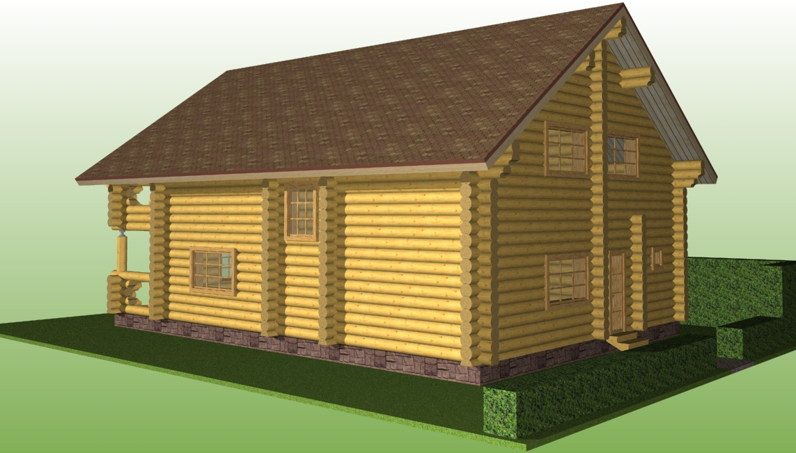 wooden house according to project No. 9 made of logs