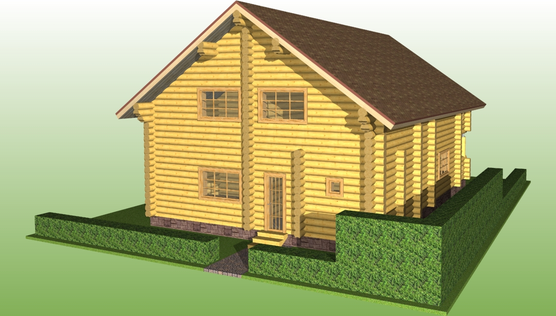 image of a log house according to project No. 9 from the side of the winter entrance